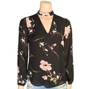Dynamite Choker V-Neck Floral Long Sleeve Top